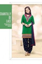 Green Color Beautiful & Fashionable Patiala Suit With floral Embroidery Work On Neck