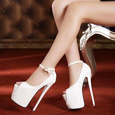 Calçados Femininos - Sandálias - Saltos / Peep Toe - Salto Agulha - Preto / Branco - Courino - Festas & Noite de 2016 por $83.39