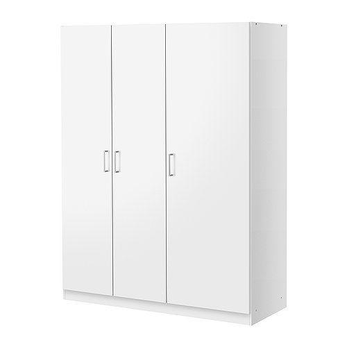 IKEA - DOMBÅS, Kleiderschrank, , Versetzbare Böden für bedarfsangepasste Aufbewahrung.Verstellbare Scharniere stellen sicher, dass die Türen gerade hängen.