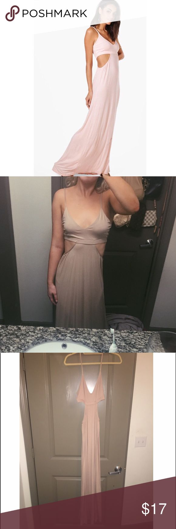 Nude beige boohoo maxi dress with side cut outs Really cute and comfortable nude maxi dress with two side cut outs that show your waist from boohoo! Never worn and perfect condition. Perfect with some sandals for summer! Boohoo Dresses Maxi