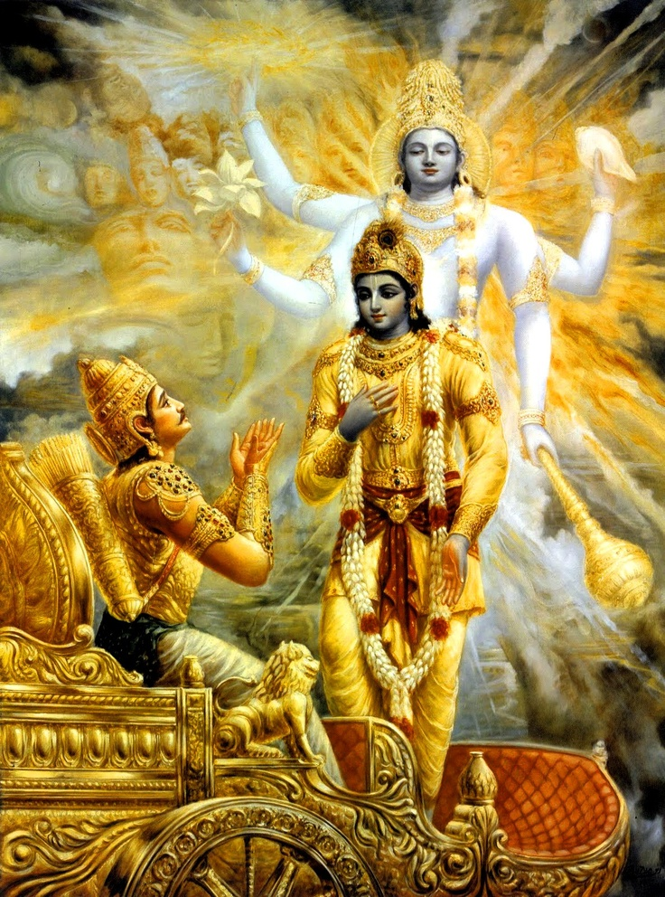 """Bhagavad Gita, Chapter 11 — """"O universal Lord, I wish to see You in Your four-armed form, with helmeted head and with club, wheel, conch and lotus flower in Your hands. I long to see You in that form."""""""