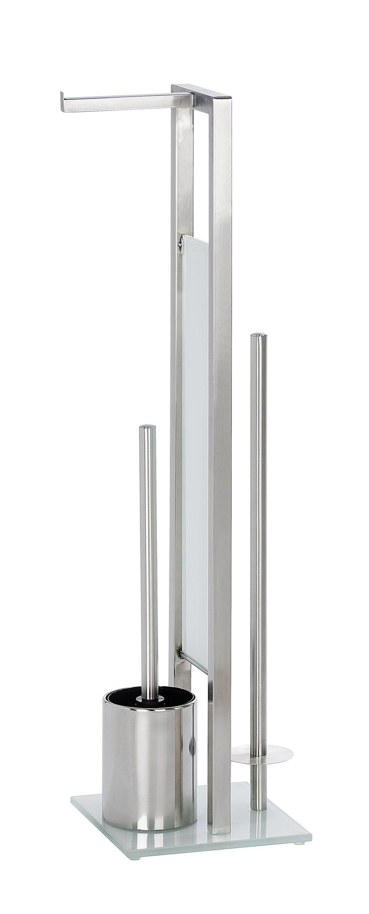 WENKO Stand WC-Garnitur Rivalta Edelstahl rostfrei  Description: Die Stand WC-Garnitur Rivalta aus rostfreiem Edelstahl setzt dekorative Design-Akzente im Badezimmer. Sie ist eine praktische 3 in 1 Kombination bestehend aus einem offenen WC-Bürstenhalter einem offenem Toilettenpapierrollenhalter für die sofortige Entnahme und einem separaten Ersatzrollenhalter für die Aufbewahrung von bis zu 3 weiteren Rollen. Die schöne weiße Sicherheits-Glasplatte garantiert einen sicheren Stand der…