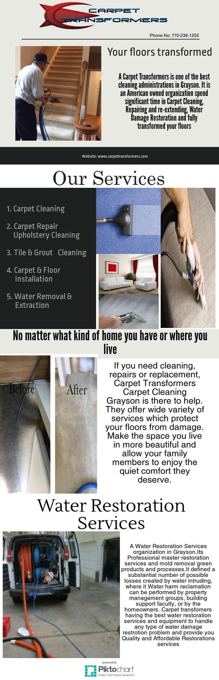 Are you dealing with water damage, immediate action is crucial.Carpet transformers having the best water restoration services and equipment to handle any type of water damage Restoration problem and provide you Quality and Affordable Restorations services call now Now phone number 770-236-1255.
