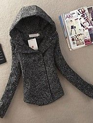 chaqueta de tweed de las mujeres sudadera con capucha corta delgada