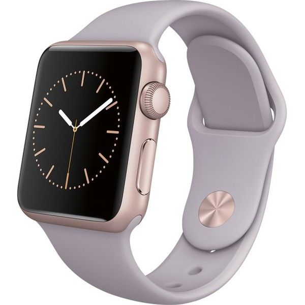 Apple Apple Watch Sport 38mm Rose Gold Aluminum Case Lavender Sport... ❤ liked on Polyvore featuring jewelry, watches, sport watches, sports jewelry, sport wrist watch, lavender jewelry and sport jewelry