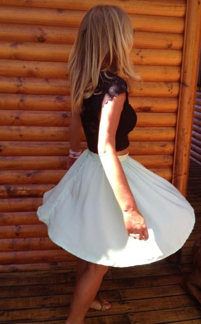 Self made high wasted green skirt