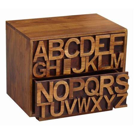 Acacia Alphabet 2 Drawer Chest
