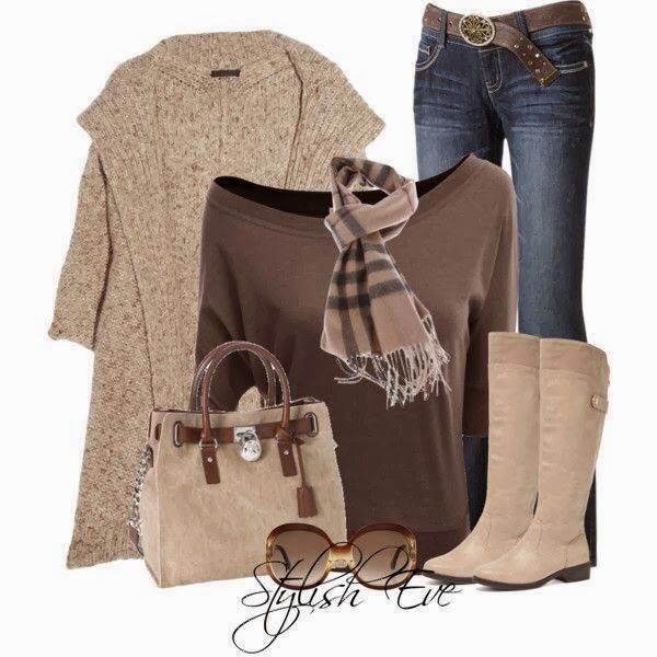 Brown jacket, brown blouse, jeans and long boots for fall