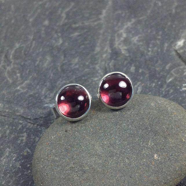 Garnet stud earrings sterling silver , gemstone studs