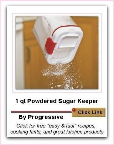 Powdered Sugar keeper by Progressive  - isn't this just so useful! It has an in-built shaker and leveler as well.