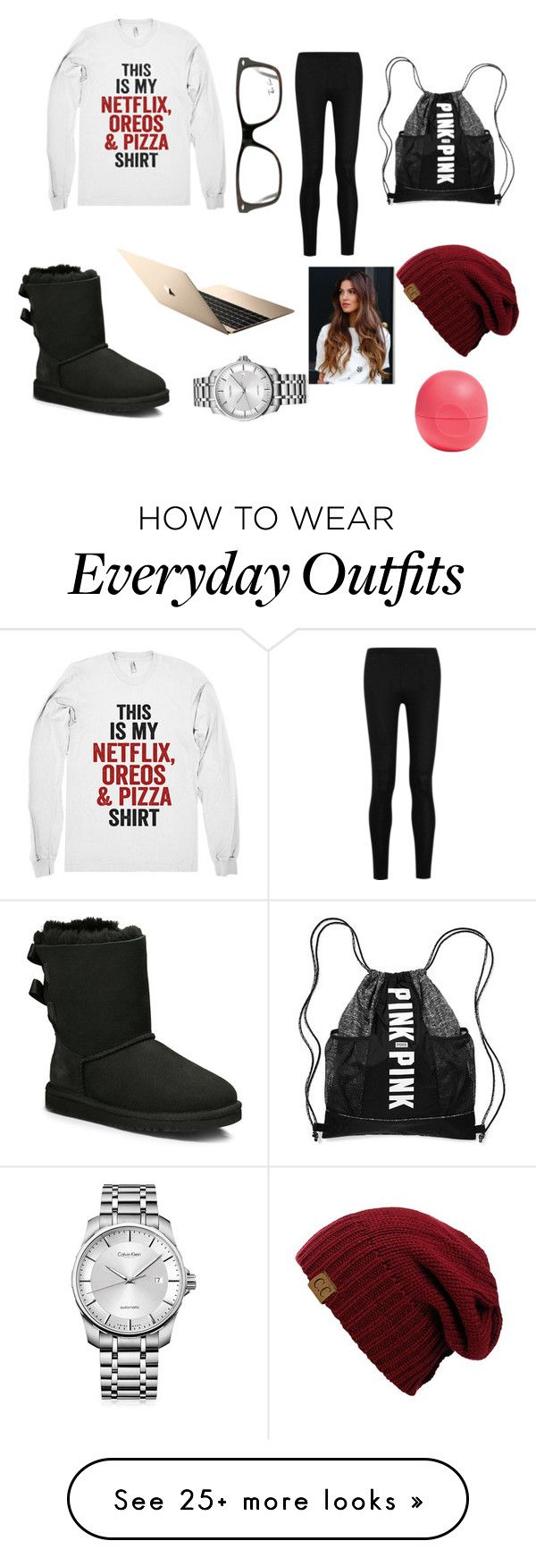 """My everyday outfit not kidding you!"" by mollyrenee on Polyvore featuring Donna Karan, UGG Australia, Ray-Ban, Calvin Klein and Eos"