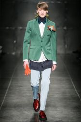 Andrea Pompilio collection's featured a very young look, using slim pants and flamboyant accessories, such as the pocket square in the picture.  More on Milan Fashion Week FW 2014 Menswear collections: http://attireclub.org/2014/01/29/milan-fashion-week/