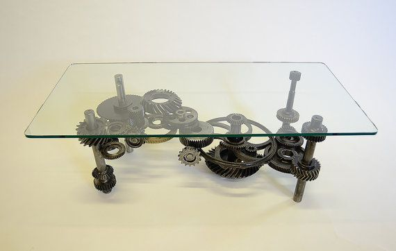 Coffee Table: Industrial Gears, Steampunk, Sculptural Table - Etsy - How cool is this?!?!