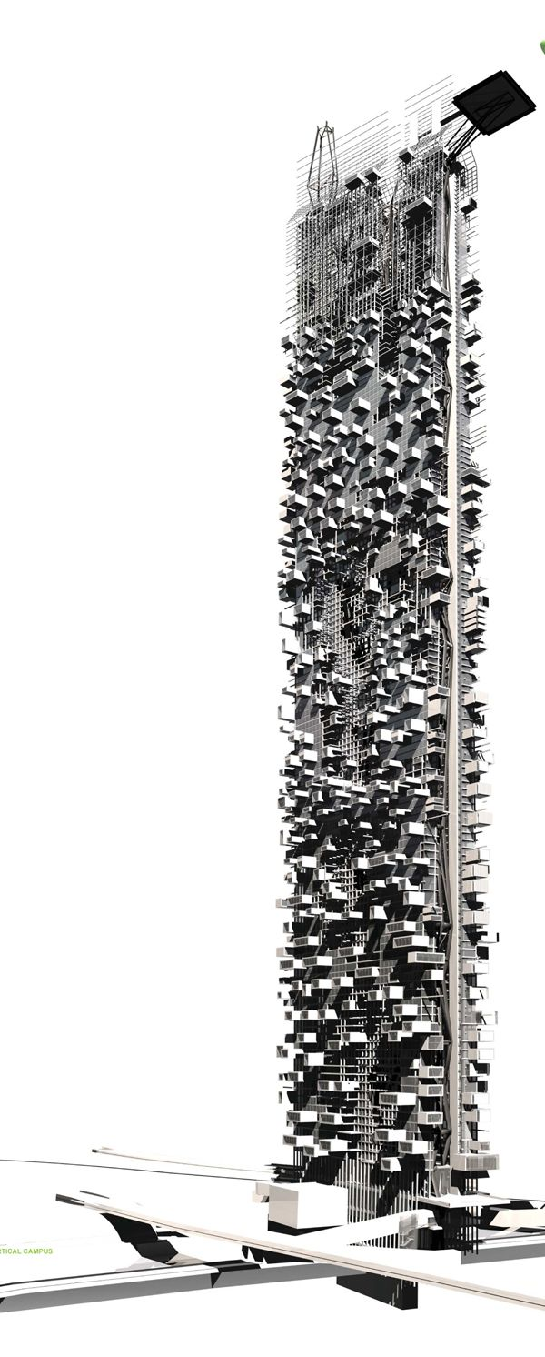 Vertical Campus by Gail Peter Borden and Brian D. Andrews via evolo.us #Architecture #Urban_Design #Vertical_Campus