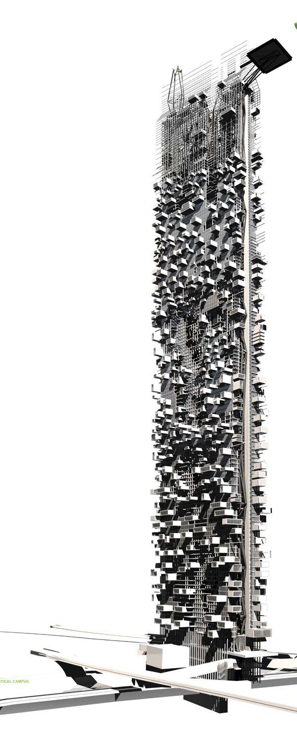 """Un crudamente moderno rascacielos en el corazón de Los Ángeles, el Campus Vertical, es una torre que """"engancha urbanidad"""", y busca dinamizar y comprometer a la comunidad por re- orientar el paisaje desde la expansión horizontal de la ciudad a un complejo vertical. La torre está situada sobre el río de Los Ángeles, con la base del edificio para generar hidroelectricidad, y es una mezcla de residencial, comercial, jardín y espacios cívicos."""