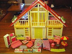 Barbie Dream House ~ I never had this, but my daughter has it now.  I got it at a yard sale, years ago & it doesn't have the middle part.  Cool either way.