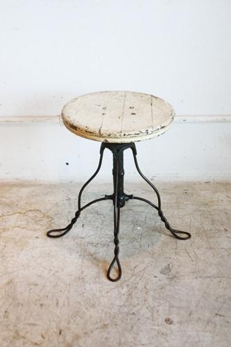 アンティークウッドスツールアイアンアメリカ椅子イス インテリア 雑貨 家具 Antique chair ¥38000yen 〆04月27日