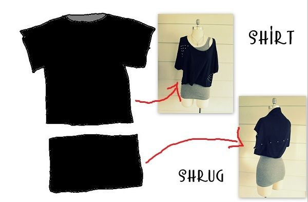 EASY DIY SHRUG: Make a shrug from the bottom half of a