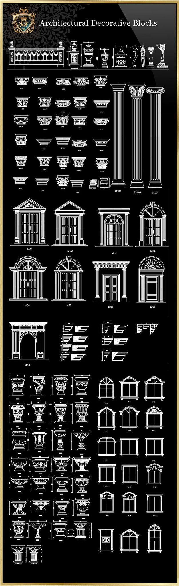 Royal Architecture Decorative Blocks – CAD Design | Free CAD Blocks,Drawings,Details