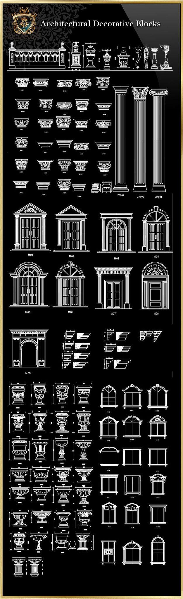 Royal Architecture Decorative Blocks – CAD Design | Free CAD Blocks,Drawings,Details
