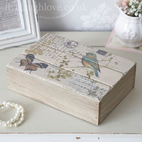 Rustic  wooden Carte Postale box with bird and butterfly print.