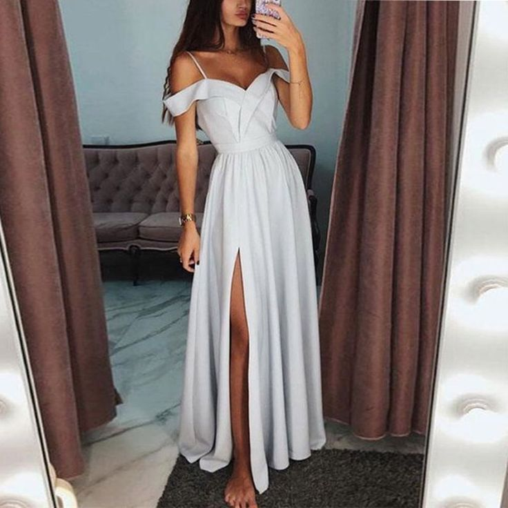 Commuting V Neck Sleeveless High-Waist Slit Bare Back Evening Dress