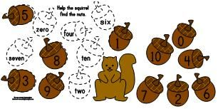 Making Learning Fun  |  Squirrel Acorn Number Word Matching