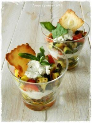 Bicchieri alle verdure con crema di caprino al basilico. #Ricette e idee creative su www.donna-in.com