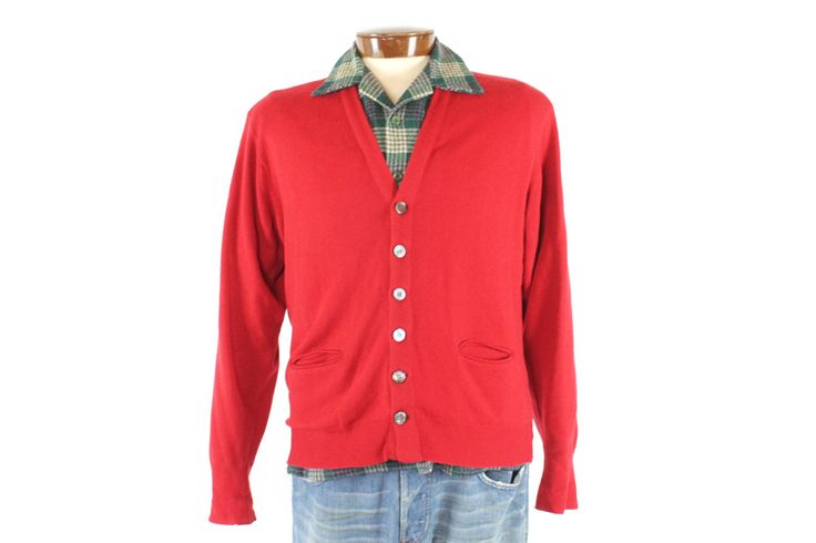 $64, Vintage 50s Cashmere Cardigan Sweater Red Button Up Mens Size Medium M 1950s Preppy Rockabilly Fashion by TheVintageReserve on Etsy