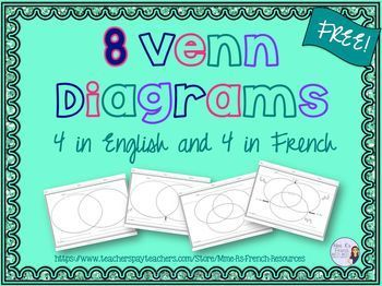 These Venn Diagrams are perfect for any level class working on comparing and contrasting.  There are 4 Venn Diagrams in English and 4 in French with and without lines outside of the diagram for students to label the circles.  If you are having students compare and contrast 3 elements, you'll LOVE the version with 3 circles!