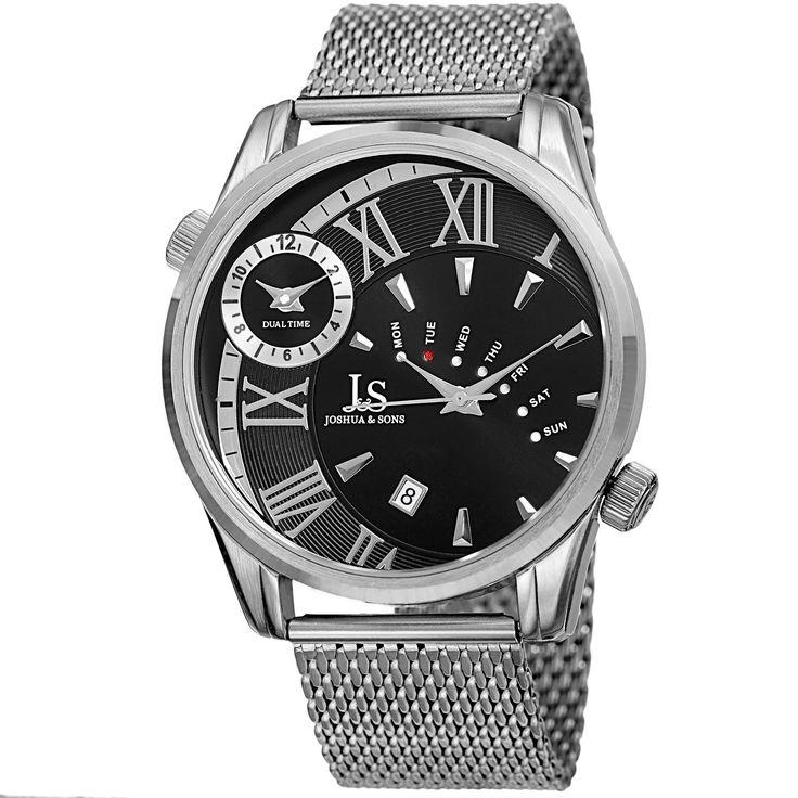 Akribos XXIV Joshua & Sons Men's Quartz Multifunction Dual Time Stainless Steel Mesh Gold-Tone Bracelet Watch