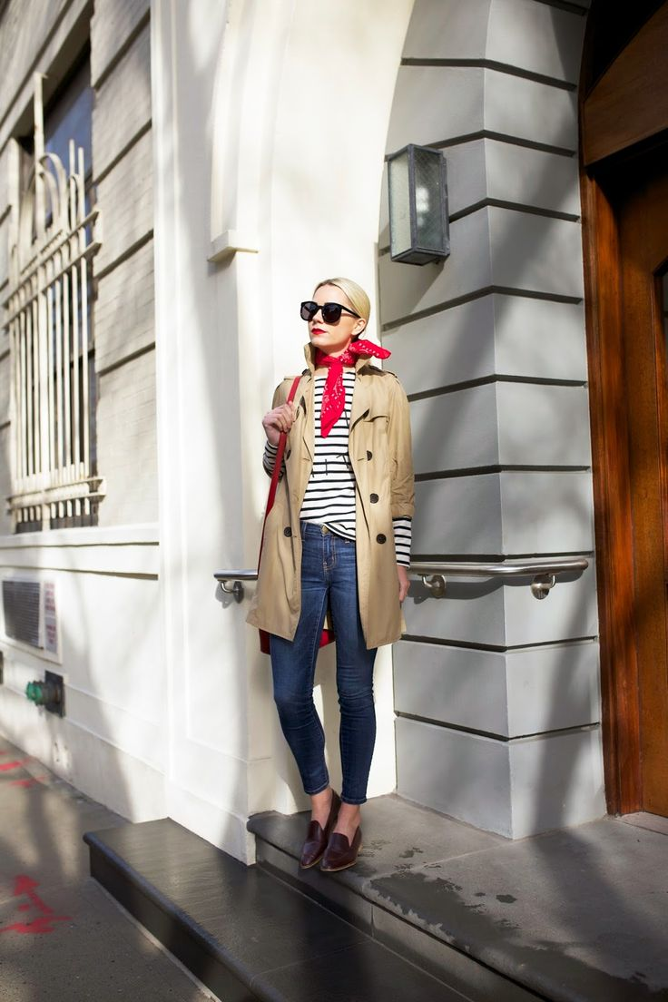 Atlantic-Pacific: Breton stripes, red neck scarf, trench coat