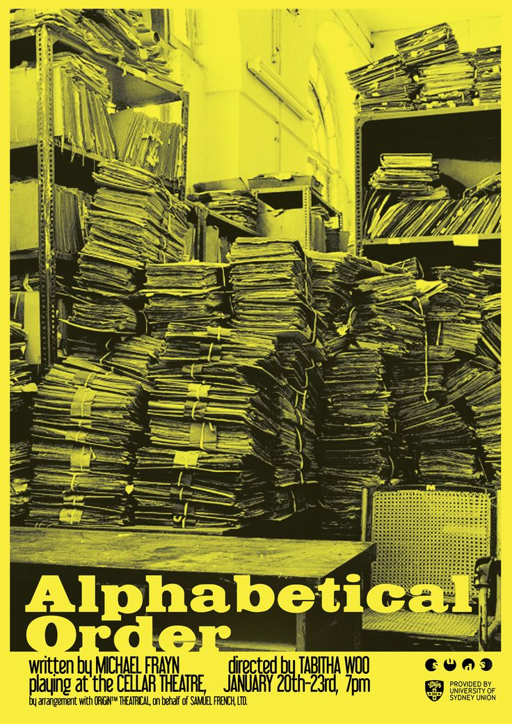 Poster design for 'Alphabetical Order' by Michael Frayn Directed by Tabitha Woo January 2016 Design by Victor Kalka