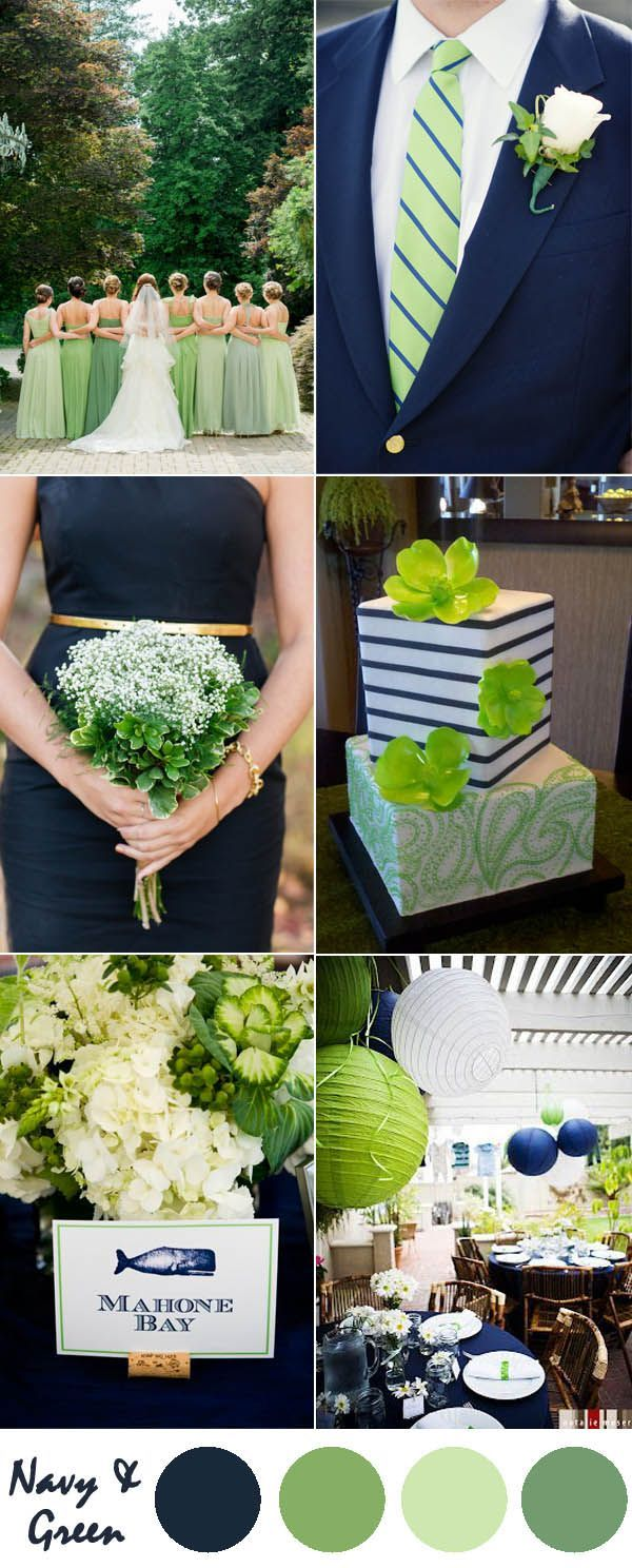 navy blue and green wedding color ideas
