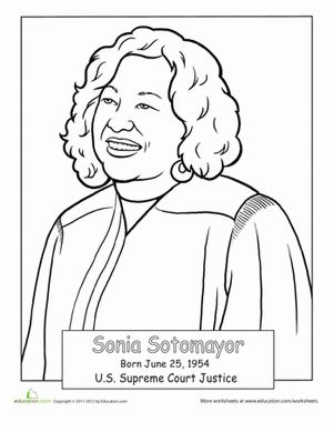 Hispanic Heritage Month Second Grade People Worksheets: Sonia Sotomayor Coloring Page