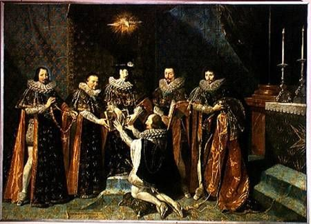 1633 by Philippe de Champaigne: Louis XIII (1601-43) Receiving Henri d'Orleans (1595-1663) Duc de Longueville, into the Order of Saint Esprit