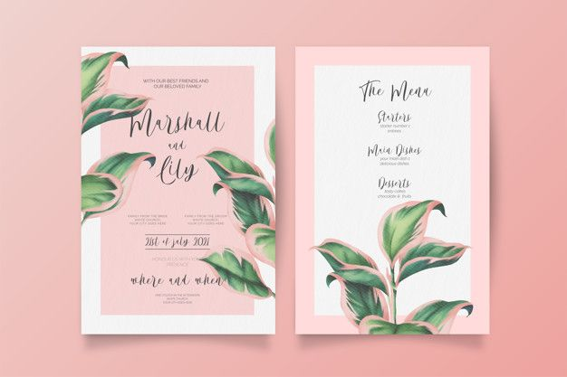 Download Pink And Green Wedding Invitation And Menu Template For Free Green Wedding Invitations Pink Green Wedding Invitations Green Wedding