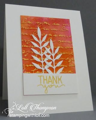 Gilding with Inka Gold - I used Inka Gold wax paste for my card today.  First I sprayed watercolour paper with three colours of watercolour sprays (yellow, orange and pink).  Once dry, I embossed with a script embossing folder, and then used a stiff sponge to add inka gold on top, highlighting the embossing.  Once dry, buffing the surface with a soft cloth or paper towel, brings out the shine.