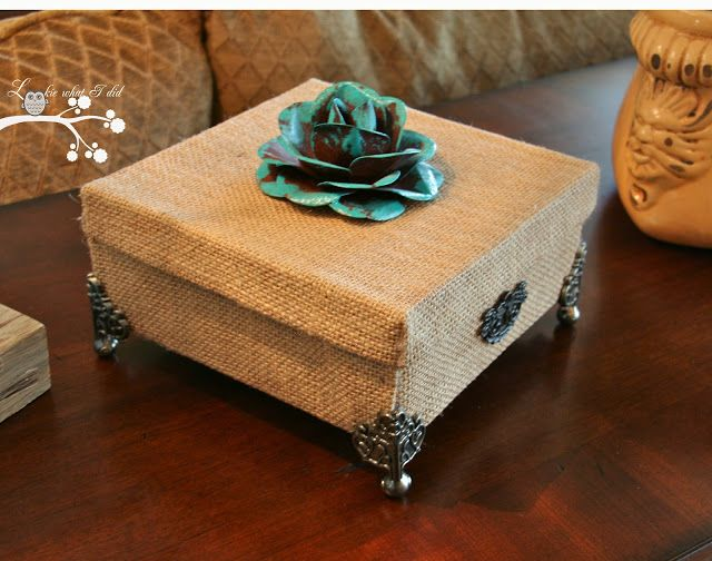 Going to do a similar cardboard box with burlap or other for Fabric covered boxes craft