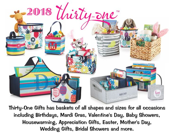 #31 2018 Thirty-One Gifts has BASKETS of all shapes and sizes for all occasions including Birthdays, Mardi Gras, Valentine's Day, Baby Showers, Housewarming, Appreciation Gifts, Hostess Gifts, Easter, Mother's Day, Wedding Gifts, Bridal Showers and more. Time to Celebrate! Find more at MyThirtyOne.com