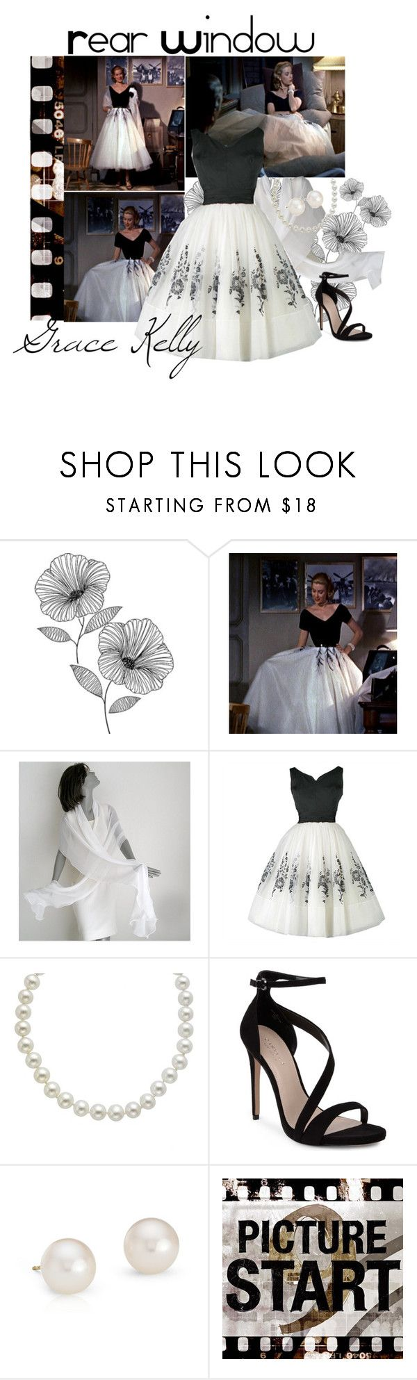 """""""grace kelly in rear window"""" by retrorose ❤ liked on Polyvore featuring Wall Pops!, Grace, Carvela, Blue Nile and Universal Lighting and Decor"""