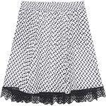 LALA BERLIN Nika Kufiya White Black // Patterned cotton skirt