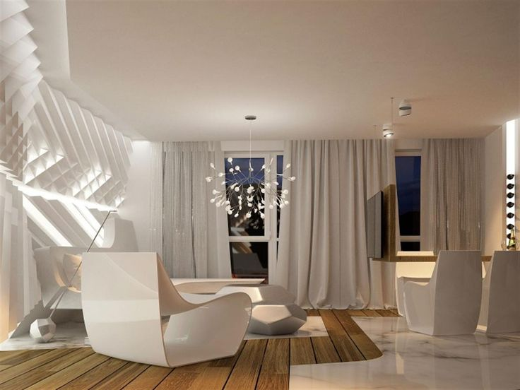 Magnificent And Futuristic Interior Home 08: Living Room Interior With  Futuristic Chandelier Part 19