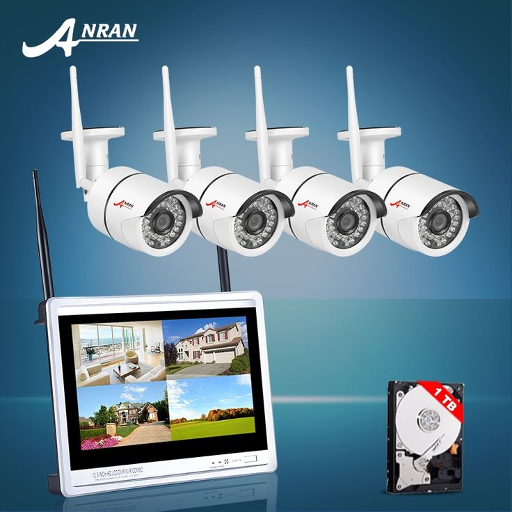 """248.82$  Know more  - """"ANRAN 12"""""""" LCD 4CH Wireless NVR Kit 720P HD IR Outdoor WIFI IP Camera Home Video Surveillance Security CCTV Camera System 1TB HDD"""""""