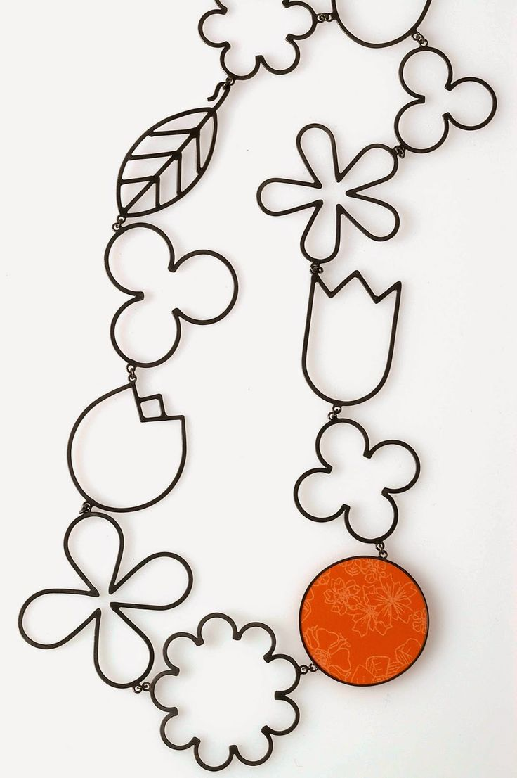 Katy Hackney, UK. Flower Drawings Necklace, 1999 (Black gold plated silver…