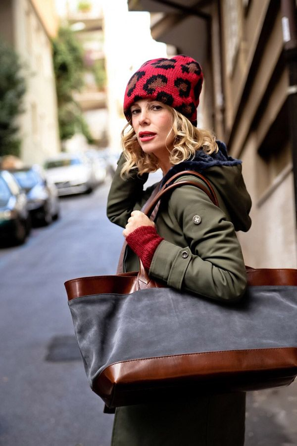 Italian actress Alessia Marcuzzi wearing Tak.Ori Made in Italy beanie with animal print from collection Fall Winter 14