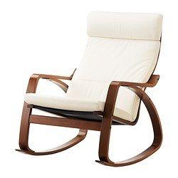 POÄNG Chaise berçante - Granån blanc, brun moyen - IKEA