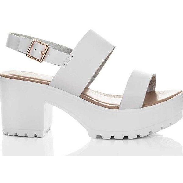 cd0bda71e046 SpyLoveBuy Axe Platform Cleated Sole Block Heel Sandals Shoes White...  ( 45) ❤ liked on Polyvore featuring shoes