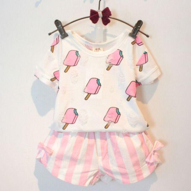 Conjunto de Roupas infantis Meninas Estilo Verão Crianças Roupas de Menina Bonito Sorvete Buraco T-shirt + Listrado Arco Curto Terno 2 pcs roupas