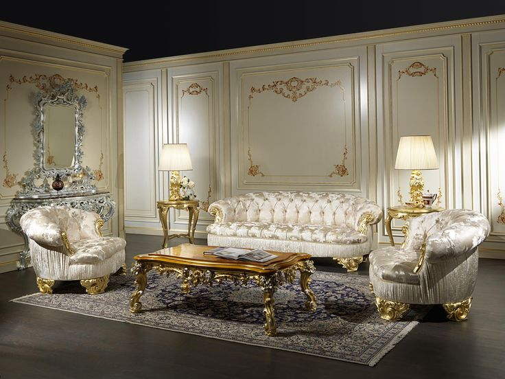 The couches in classic the living room Paris stand out for their brightness, in this version, accentuated by the choice of a cloth white and iridescent. Embellished by the machining capitonné – a craft technique that can only be done by hand – the couches in the classic living room Paris have rich pins, carved and gilded, as well as the final elements of the armrests: a set of characteristics that makes them at the same time luxurious and comfortable. Note also the pleats of the sides and…